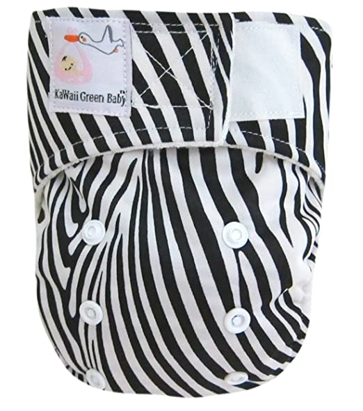 Kawaii New Improved Little Green Baby Bamboo Newborn Diaper in Baby Black Stripes