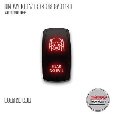 HEAR NO EVIL - Red - STARK 5-PIN Laser Etched LED Rocker Switch Dual Light - 20A 12V ON/OFF: Automotive