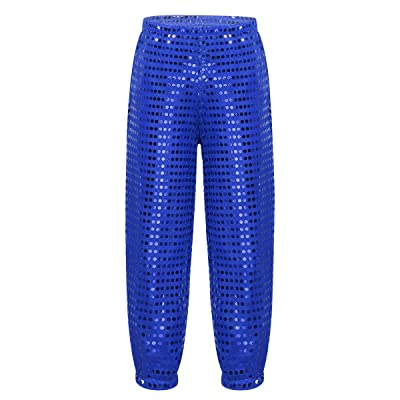TiaoBug Kids Boys Girls Spakle Sequin Punk Style Loose-Fit Dance Pants Modern Jazz Hip Hop Street Dance Bloomers Trousers: Clothing