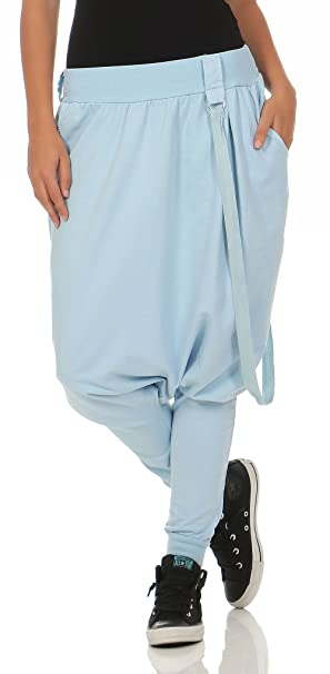 Malito básico Pantalones Bombacho Pantalones Anchos 91086 Mujer Talla Única  (Azul Claro) ed073756a2ba