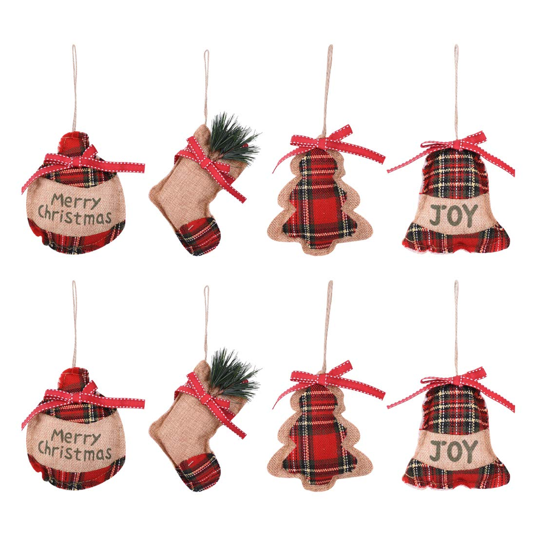 KOMIWOO 8 Pack Burlap Stocking Tree Ball Star Christmas Tree Ornaments, Great Rustic Vintage Holiday Party Decorations Xmas ornaments beige