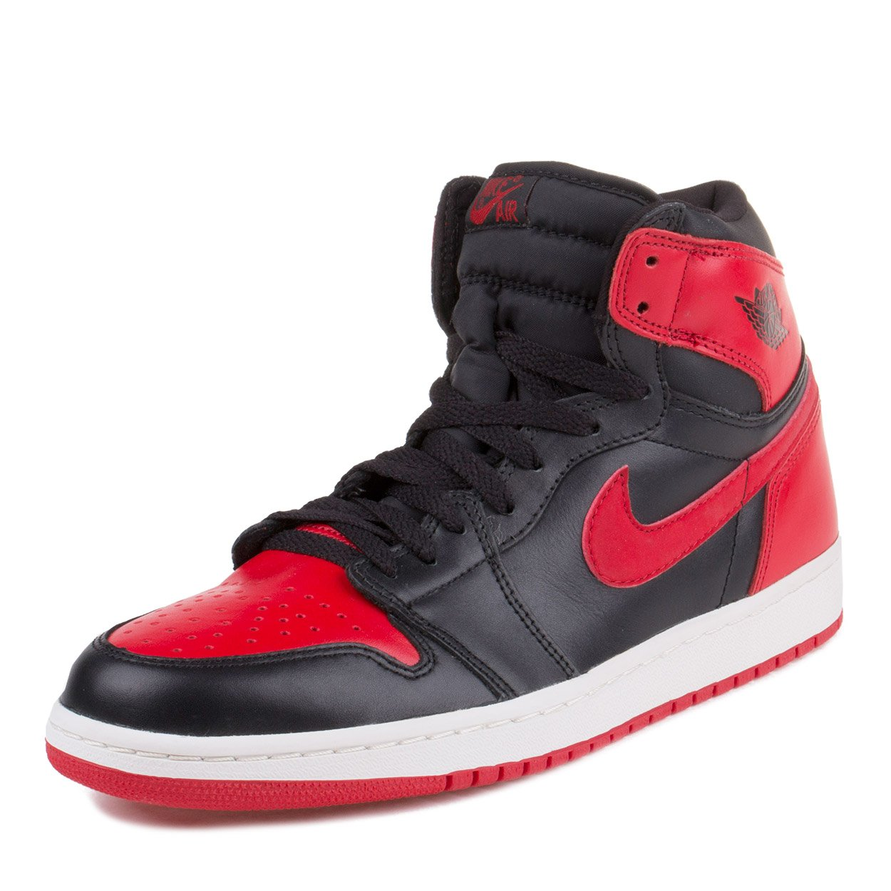 Nike Mens Air Jordan 1 Retro ''2001 Bred'' Black/Varsity Red Leather by NIKE