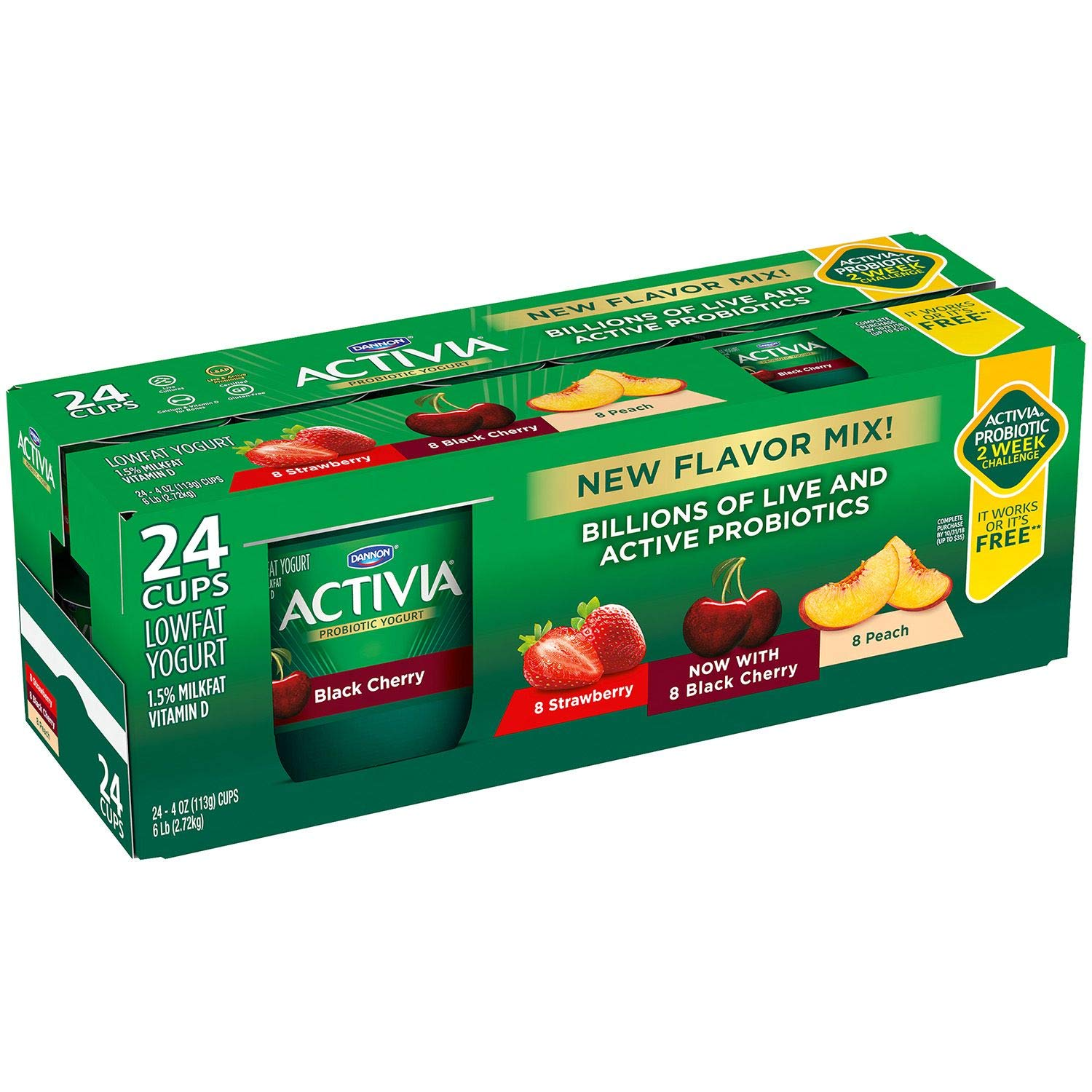 Expect More Activia Probiotic Lowfat Yogurt, Variety Pack (24 ct.) by EVAXO