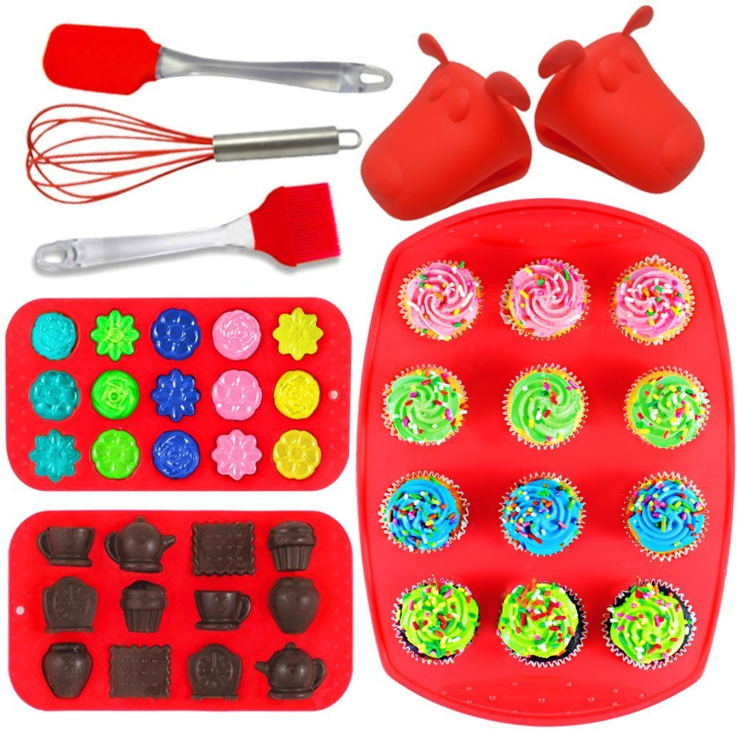 Joiedomi 8-Pieces Silicone Bakeware Set Including Muffin Cupcake Mold Baking Tray, Chocolate Candy Ice Molds, Gloves, Full Size Utensils - Tray, Spatula and Whisk! NO BPA! by Joiedomi