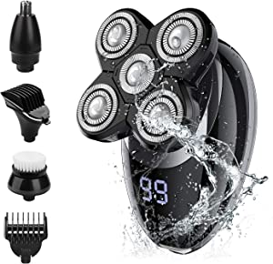 Electric shavers for Men, Cordless Rechargeable Electric Razor Bald Head Shaver, 5 in 1 Nose Beard Trimmer Hair Clipper Facial Grooming Kit Waterproof, Wet Dry Rotary Shaver with Cleansing Brush