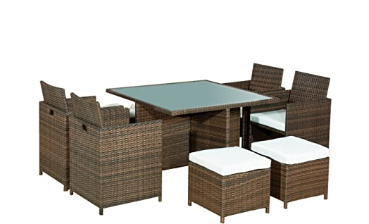 Alexander Morgan AM506 8 Seater Garden Rattan Dining Set   Brown Rattan/Cream  Cushions