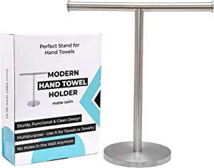 """Debodda Modern Hand Towel Stand for Bathroom, Kitchen or Vanity, Height 13.78"""", Free Standing Matte Satin Countertop Rack with Balanced Base, Perfect Hand Towel Holder, Dual Washcloth Display"""