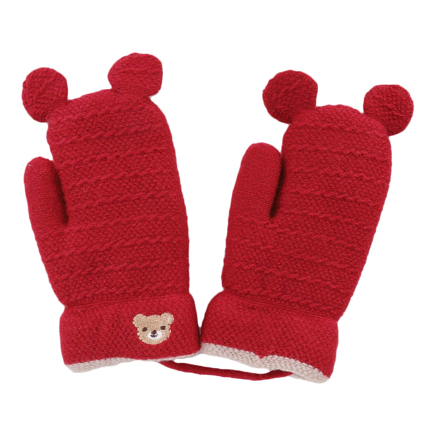 Kids Baby Cute Bear Gloves Knitted Hang Neck Mittens Children Winter Warm Mitten Thicken Plush-lined Full Finger Glove with Rope Toddler Boy Girl Thermal Hand Warmer Mitten Aged 1-4 Years Xmas Gift