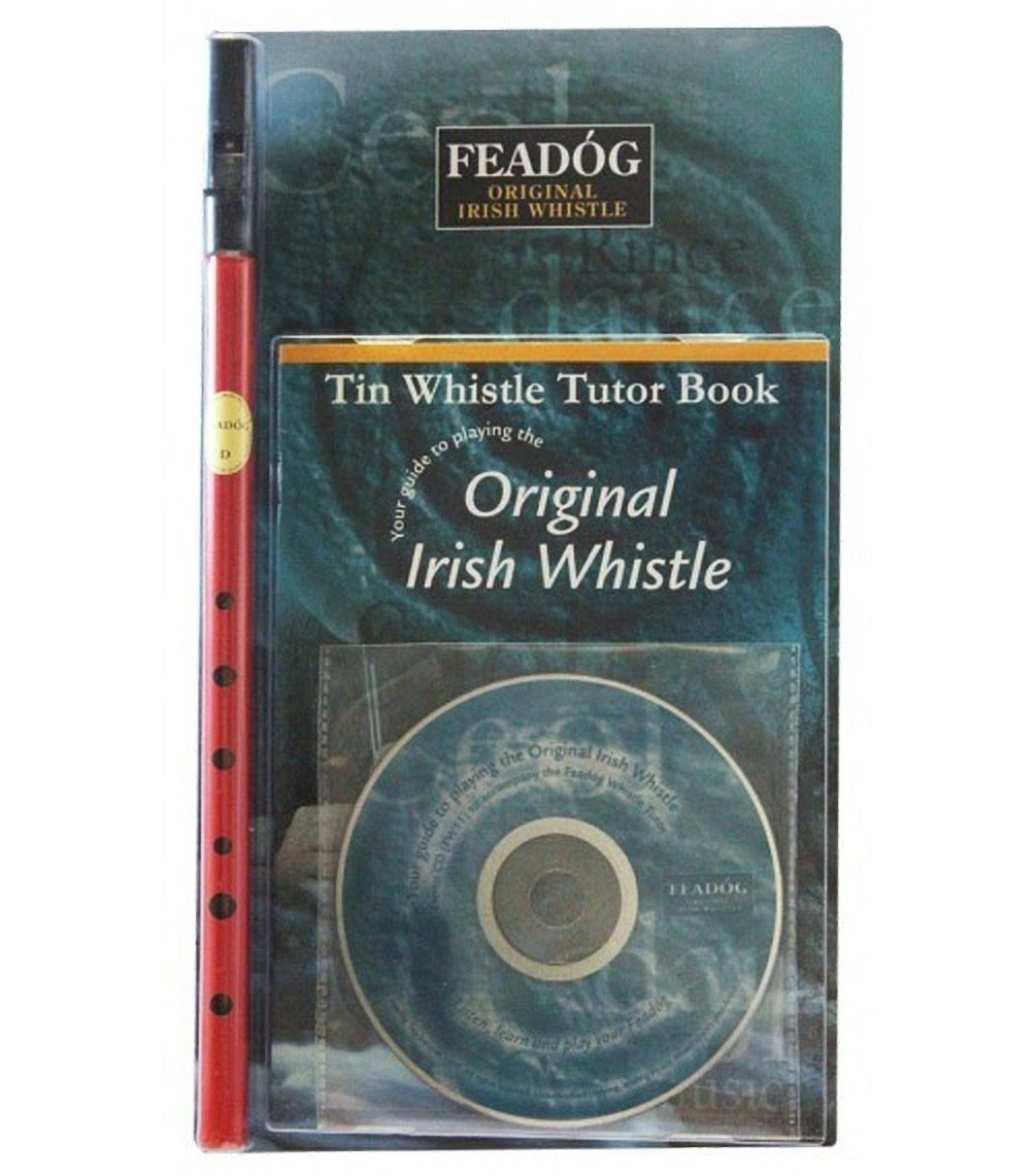 Fead/óg Brass Traditional Irish Nickel Pro Tin Whistle in the Key of D with Tutor Book with CD