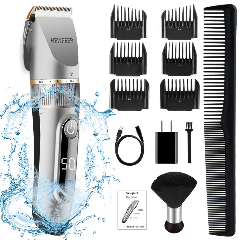 NEWPEER Hair Clippers for Men Cordless Hair Clippers Beard Trimmer Professional IPX7 Waterproof USB Rechargeable Hair Cutting Kit with Neck Duster LED Display