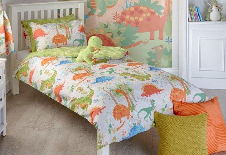 Dinosaur Design Toddler Duvet Set, Single Bed Duvet Set, Double Duvet Set, Pair Curtains & Wall Art (Double Bed Size) Riva