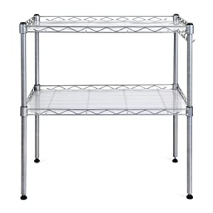 HOMFA Microwave Oven Rack Adjustable 2-Tier Steel Stand Shelf Organiser with 4 Hanging Hooks(54*34*58cm)