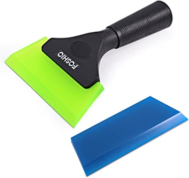 FOSHIO 1Pack White Window Kitchen Shower Squeegee Water Scraper Hand Squeegee Mirror Wiper with 9-inch Length Smooth Silicone Replace Water Blades