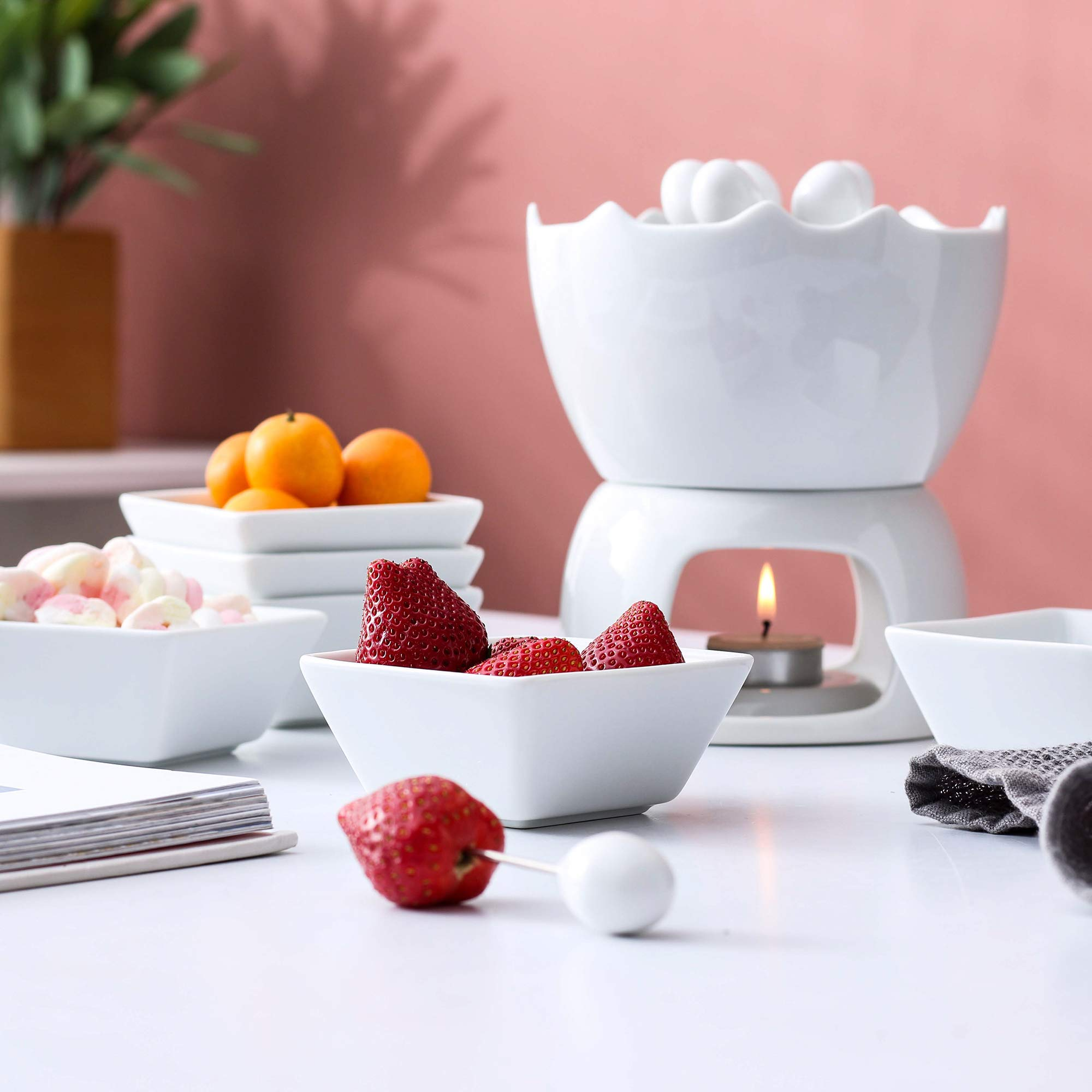 Malacasa Fondue Pot Set Two-layer Porcelain Tealight Chocolate Fondue with Dipping Bowls and Forks for 6, Cheese Fondue or Butter Fondue Set, White by Malacasa (Image #3)