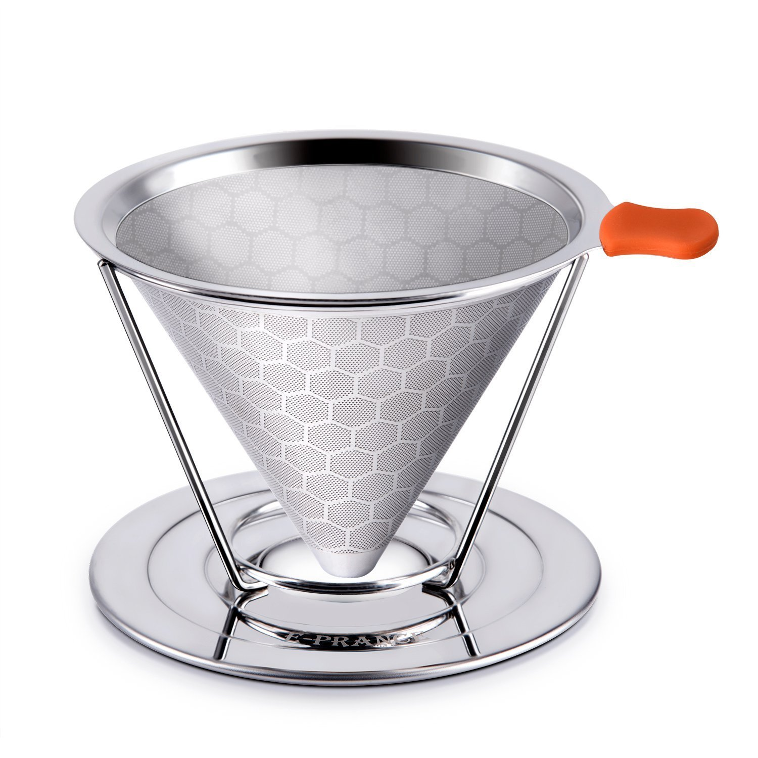 FJROnline Premium Stainless Steel Coffee Filter,Reusable Pour Over Coffee Filter Cone Coffee Dripper with Removable Cup Stand Honeycomb Design