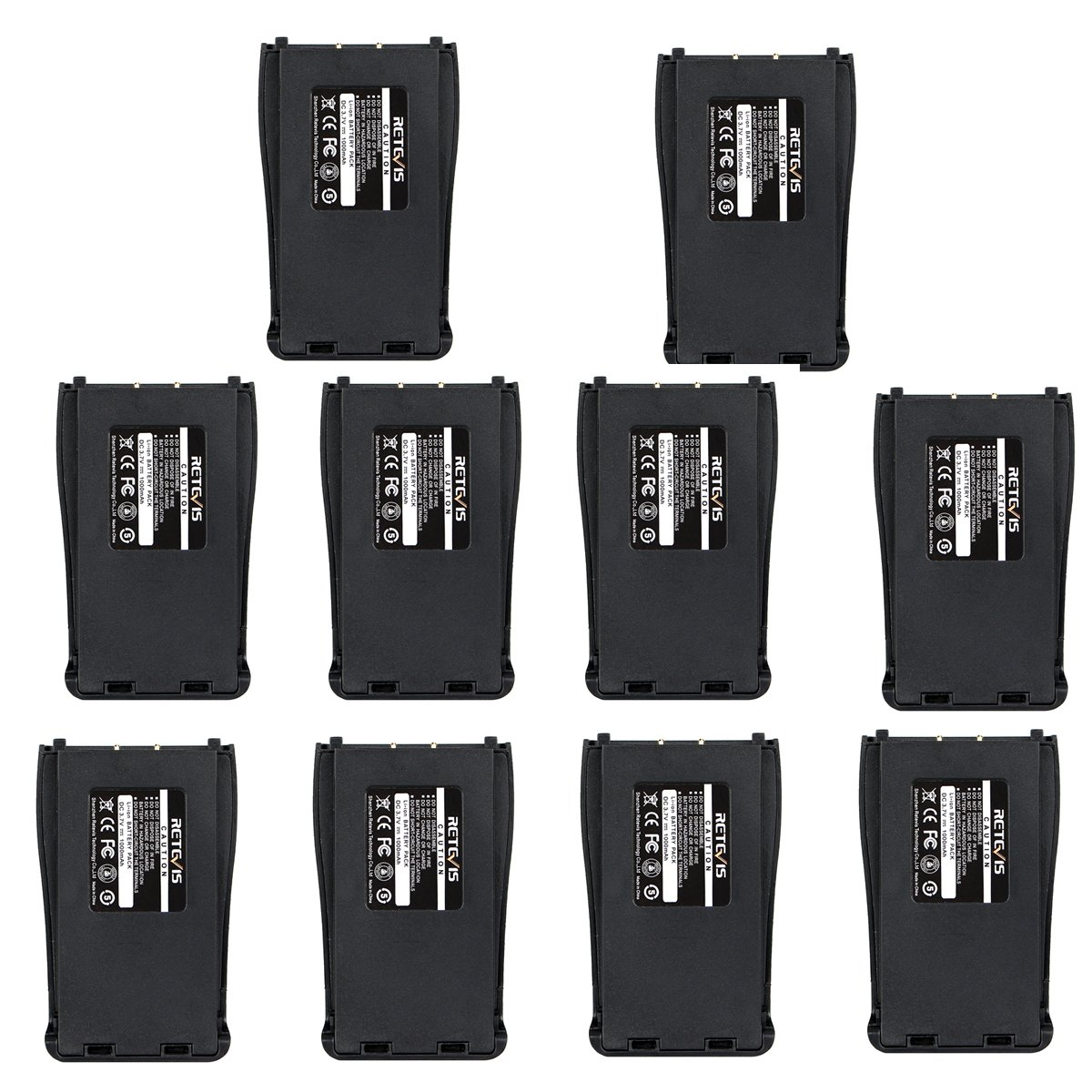 Retevis H-777 Two-way Radio Battery 1000mAh Original Rechargebale Li-ion Battery for Baofeng BF-888S Retevis H-777 Walkie Talkie (10 Pack)