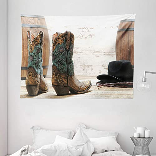 Ambesonne Western Tapestry, American Rodeo Theme Cowgirl Design Leather Boots Hat Rustic Picture, Wide Wall Hanging for Bedroom Living Room Dorm, 80 X 60 , Black Brown