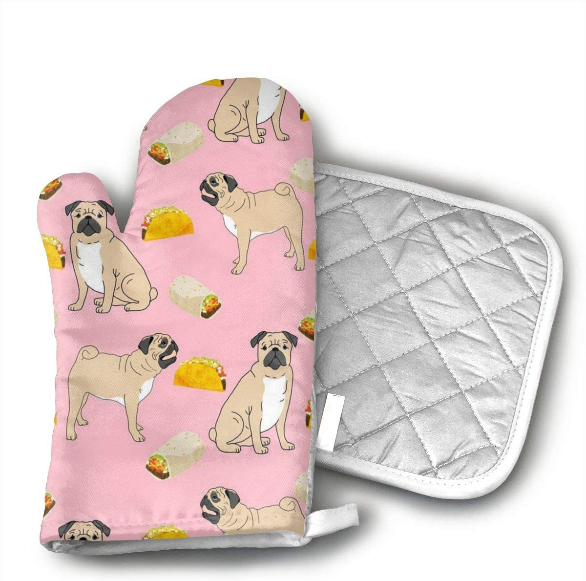 APDWFF Pugs Dog Tacos Food Oven Mitts,Professional Heat Resistant Microwave Oven Insulation Thickening Gloves Soft Inner Lining Kitchen Cooking Mittens