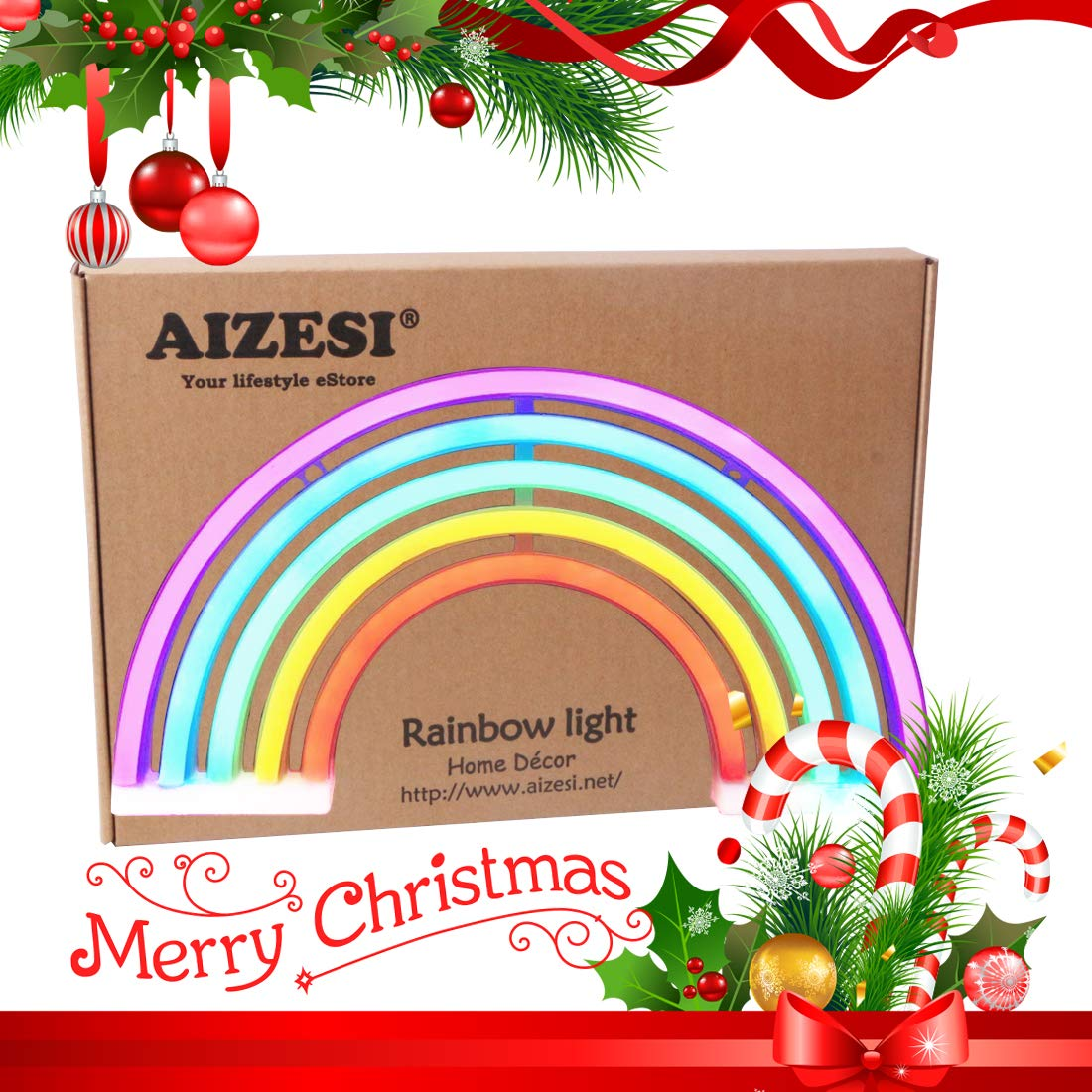 AIZESI Rainbow Neon Lights,Rainbow Christmas Lights,Neon Wall Light Battery Operated//USB Bedroom,Desk,Bar,Birthday Party,Living Room,Girl Room,Wedding Bathroom Party Festival Decorations