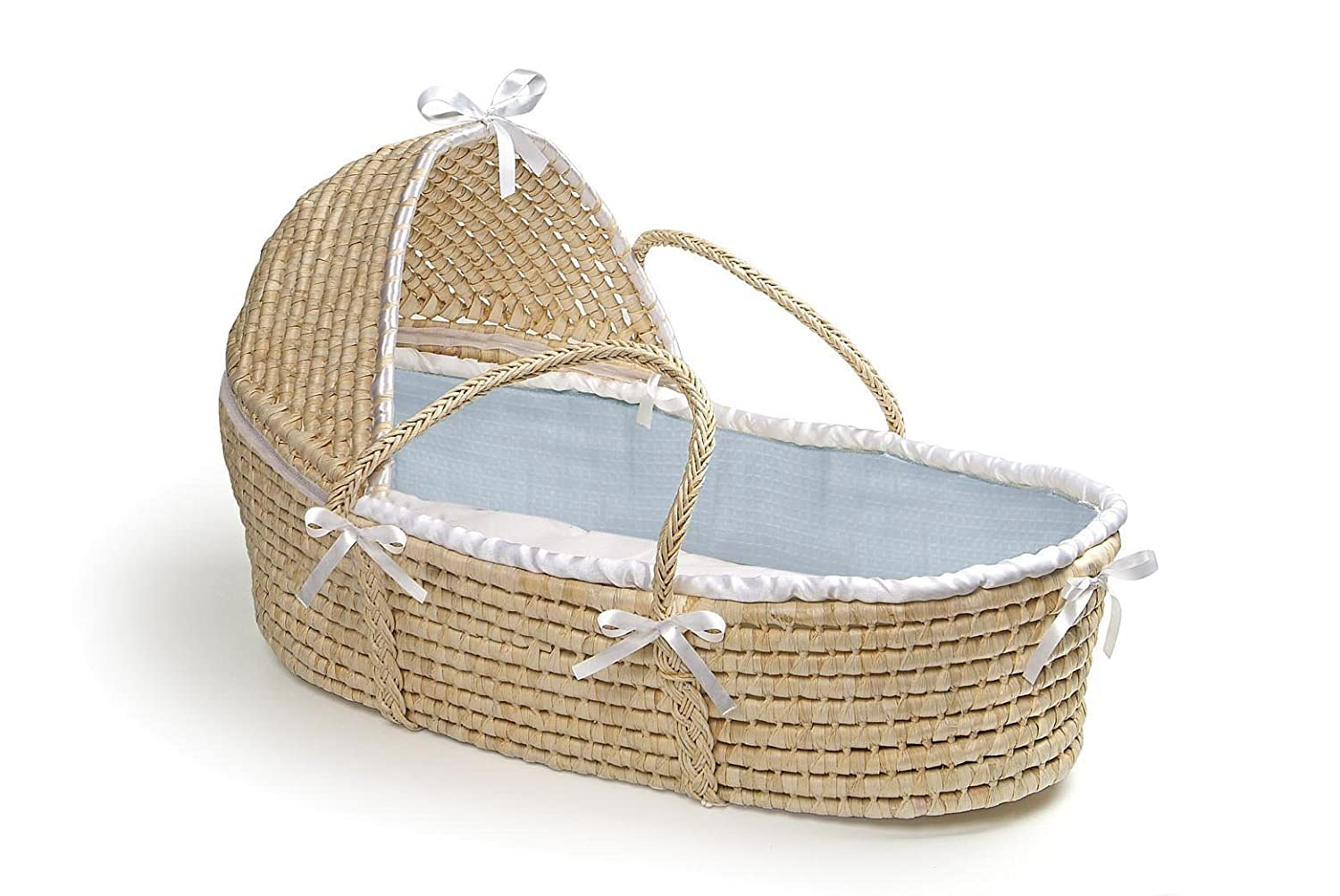 Badger Basket Natural Moses Basket with Hood, Blue Waffle Bedding 00871