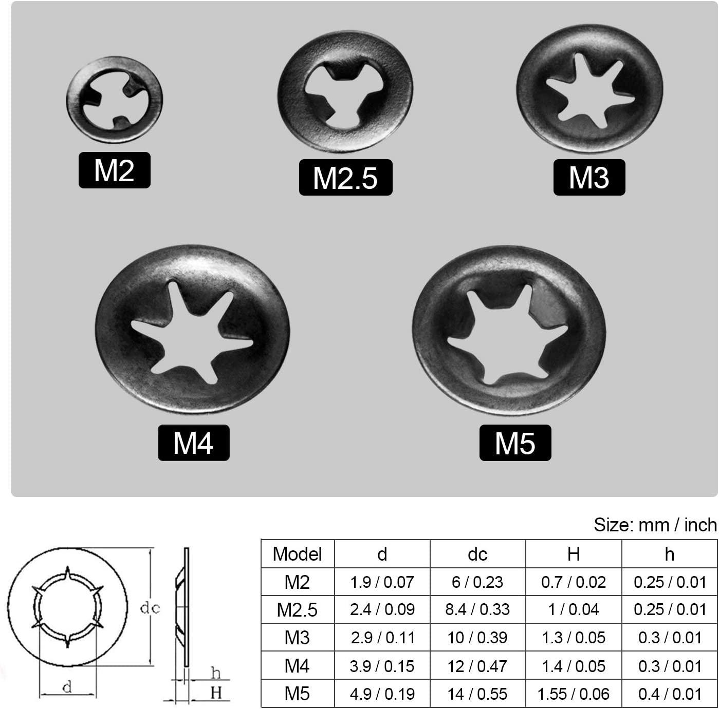 5 Sizes OIIKI 200pcs M2//M2.5//M3//M4//M5 Internal Tooth Starlock Washers Push On Speed Clips Fasteners Assortment Kit 65 Mn Steel Star Lock Washers-40pcs Each Size Quick Speed Locking Washers