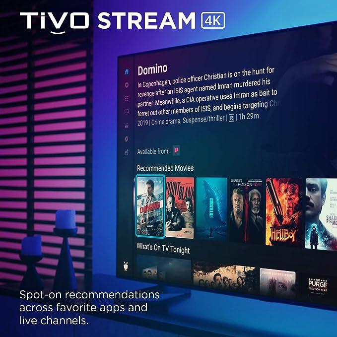 TiVo Stream 4K – Cada aplicación de transmisión y TV en directo en una pantalla – 4K UHD, Dolby Vision HDR y Dolby Atmos Sound – Google Assistant Voice Remote – Plug-in