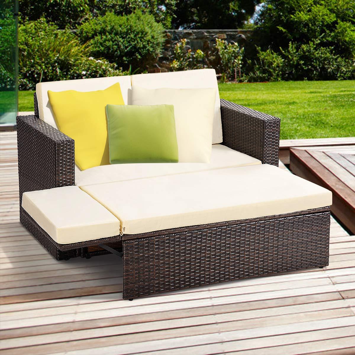 Amazon.com: TANGKULA - Juego de sofá de mimbre para patio al ...