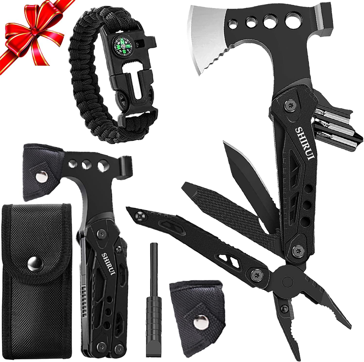 ShiRui Multitool Hammer, Gifts for Men Dad Camping Multitool Accessories 15 in 1 Pocket Hammer Survival Tools with Hammer Axe Sheath for Hunting Hiking Gifts for Men Multitool Hatchet