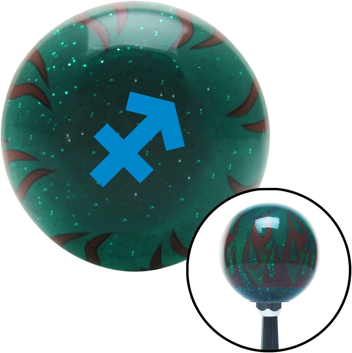 American Shifter 300359 Shift Knob Blue Sagitarius Green Flame Metal Flake with M16 x 1.5 Insert