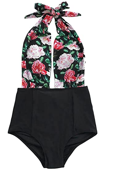 d90f7dc3b9e7b CUPSHE Women s Look up to Sky Halter One-Piece Swimsuit Beach Swimwear  Bathing Suit Small