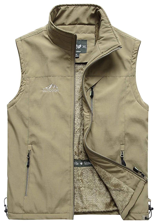 HOW'ON Men's Outdoor Full Zip Fleece Outerwear Vest