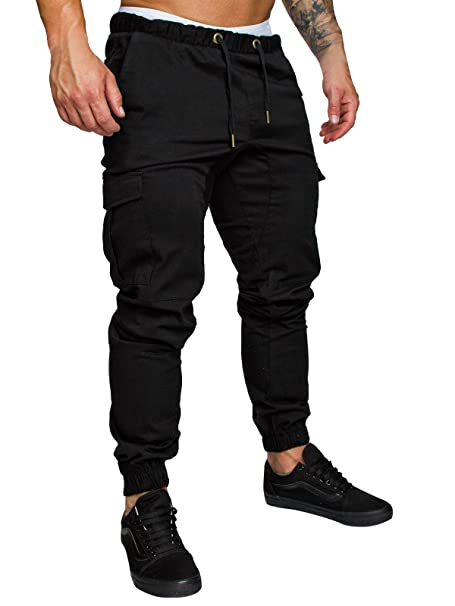b9e43921237 Mens Cargo Trousers Slim Fit Jeans Combat Skinny Elasticated Waist  Drawstring Chinos Pants Slack Bottoms M-3XL  Amazon.co.uk  Clothing