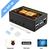 for Raspberry Pi 4 Model B, 3.5 inch Touch Screen with ABS Case and Pi 4 Heatsinks Kit, Max 50FPS 480x320 Pixel Monitor TFT Touch LCD (Support Raspbian, Ubuntu, Kali, Retropie System)