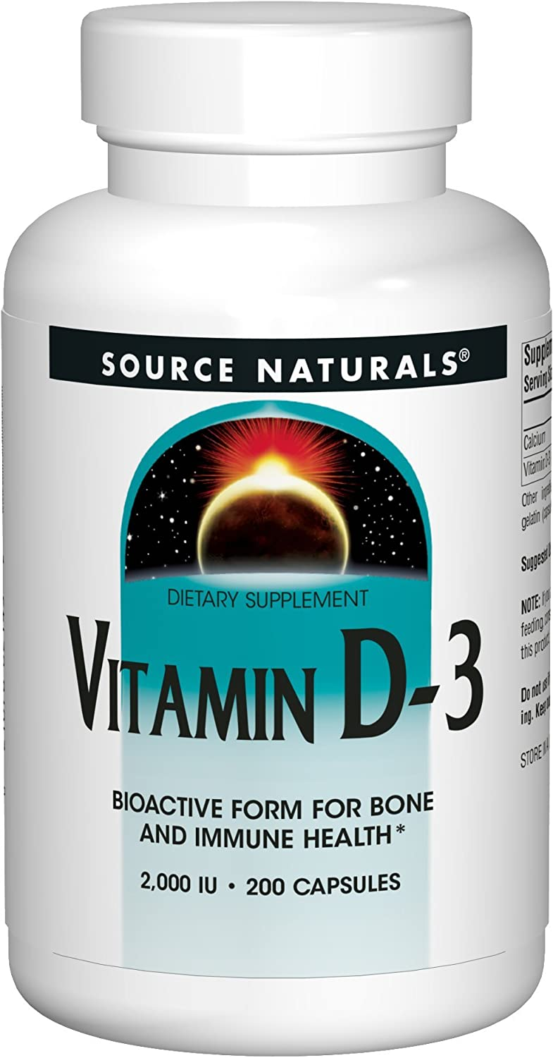 Source Naturals Vitamin D-3 2000 iu Supports Bone & Immune Health - 200 Capsules