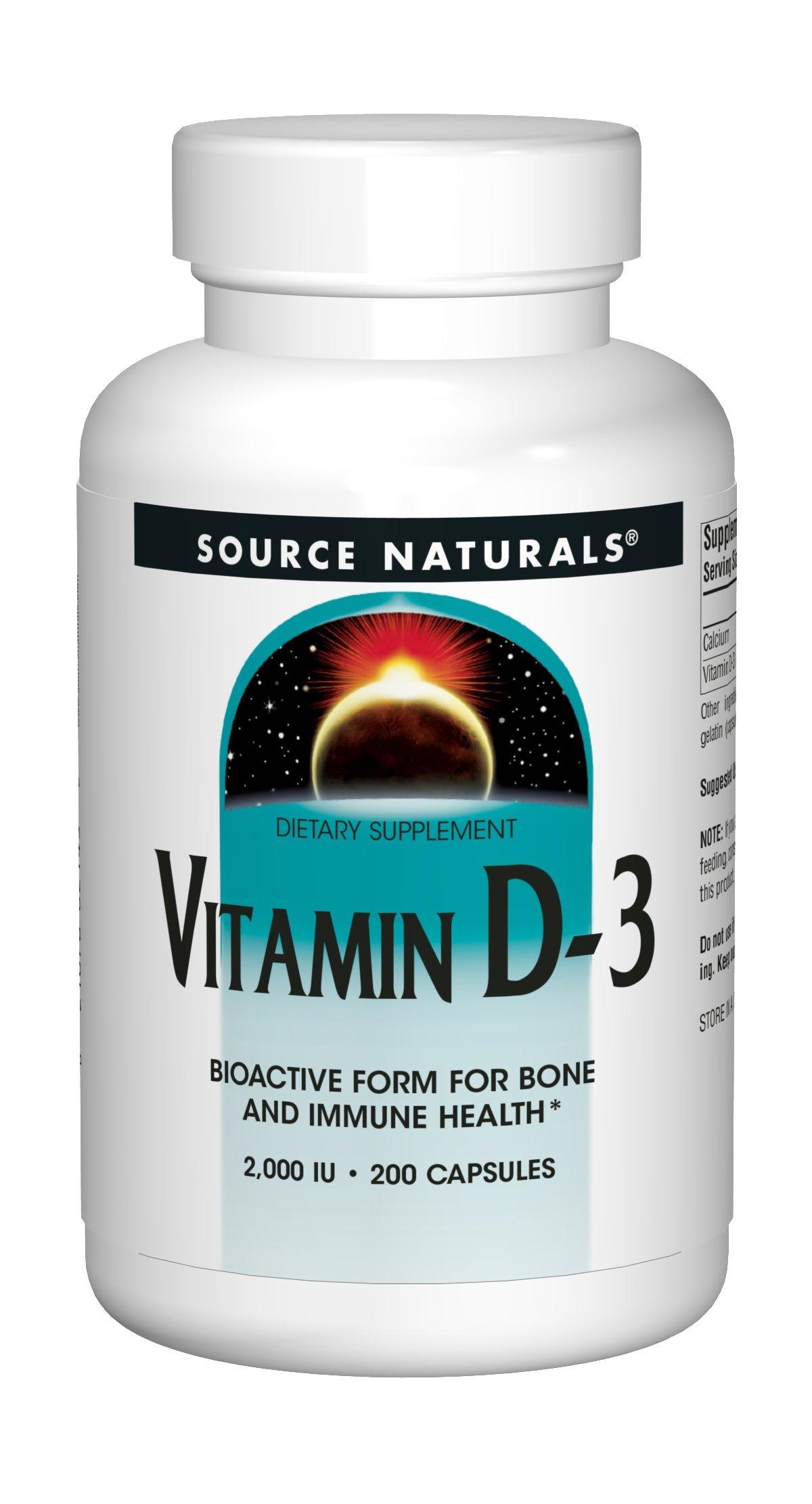 Source Naturals Vitamin D-3 2000IU - 200 Capsules