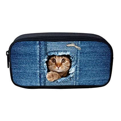 Showudesigns - Estuche para lápices y gomas de borrar para niños, diseño de animales, color gato Dedium: Amazon.es: Oficina y papelería