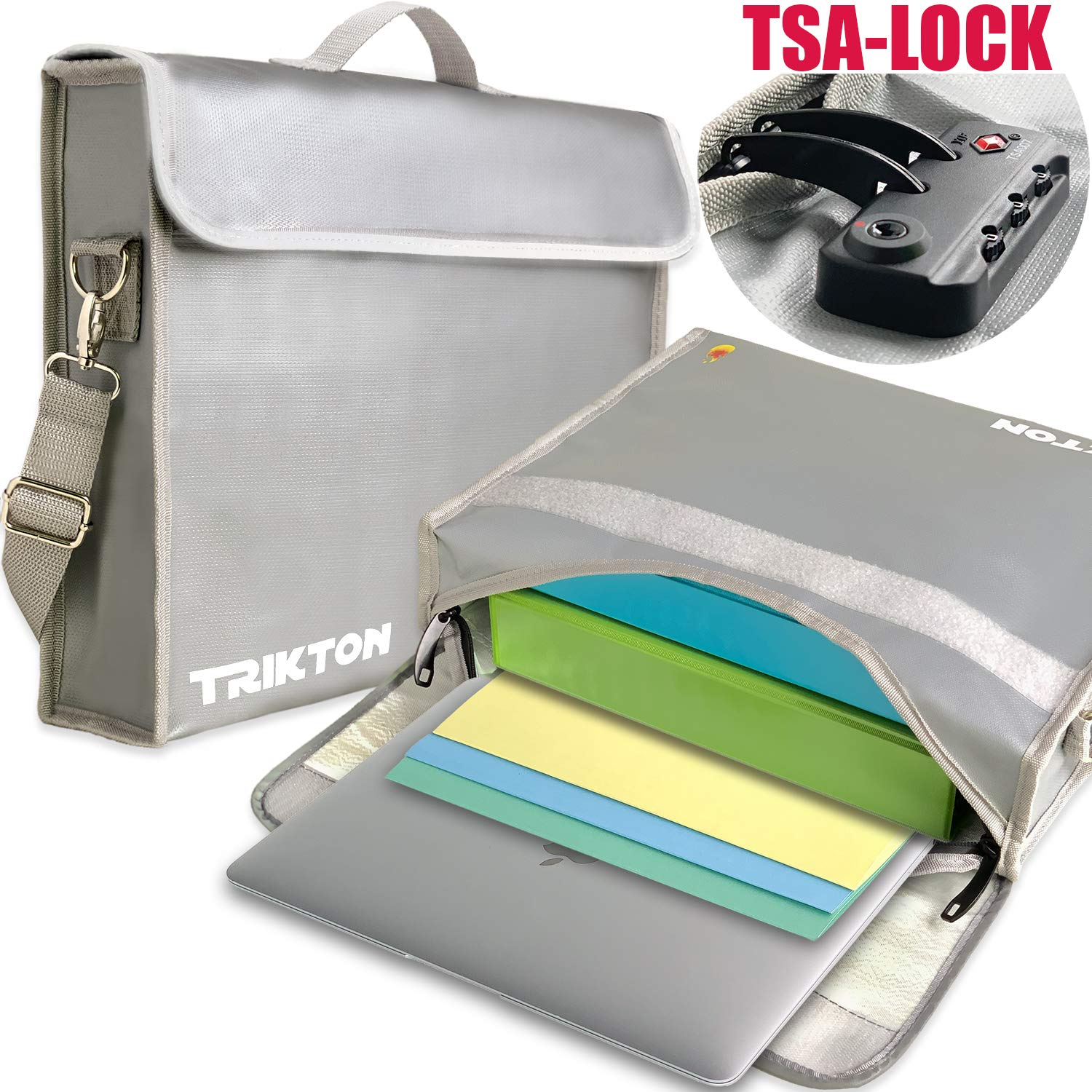 ce4ec500c658 Trikton Fireproof Document Safe Bag with Lock TSA, XL Silver, Visible in  The Dark, Stores Bulky Binders Without Fold Them, X-Large 15x12x3 Fire and  ...