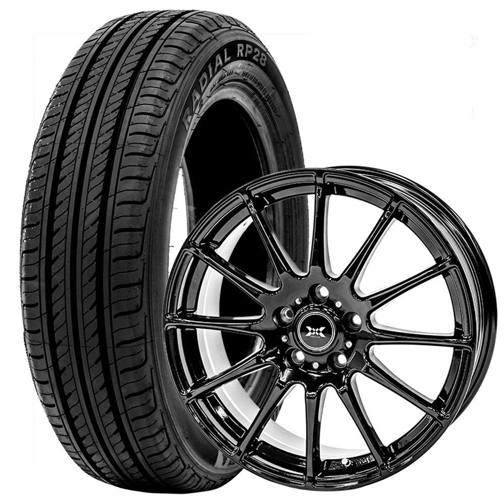 サマータイヤ ホイールセット 195/55R16 4本セット アリオン キューブ CR-Z等 (ブラック)(GOODRIDE) 2017年製 エコタイヤ RP28 B07CK2PVMX