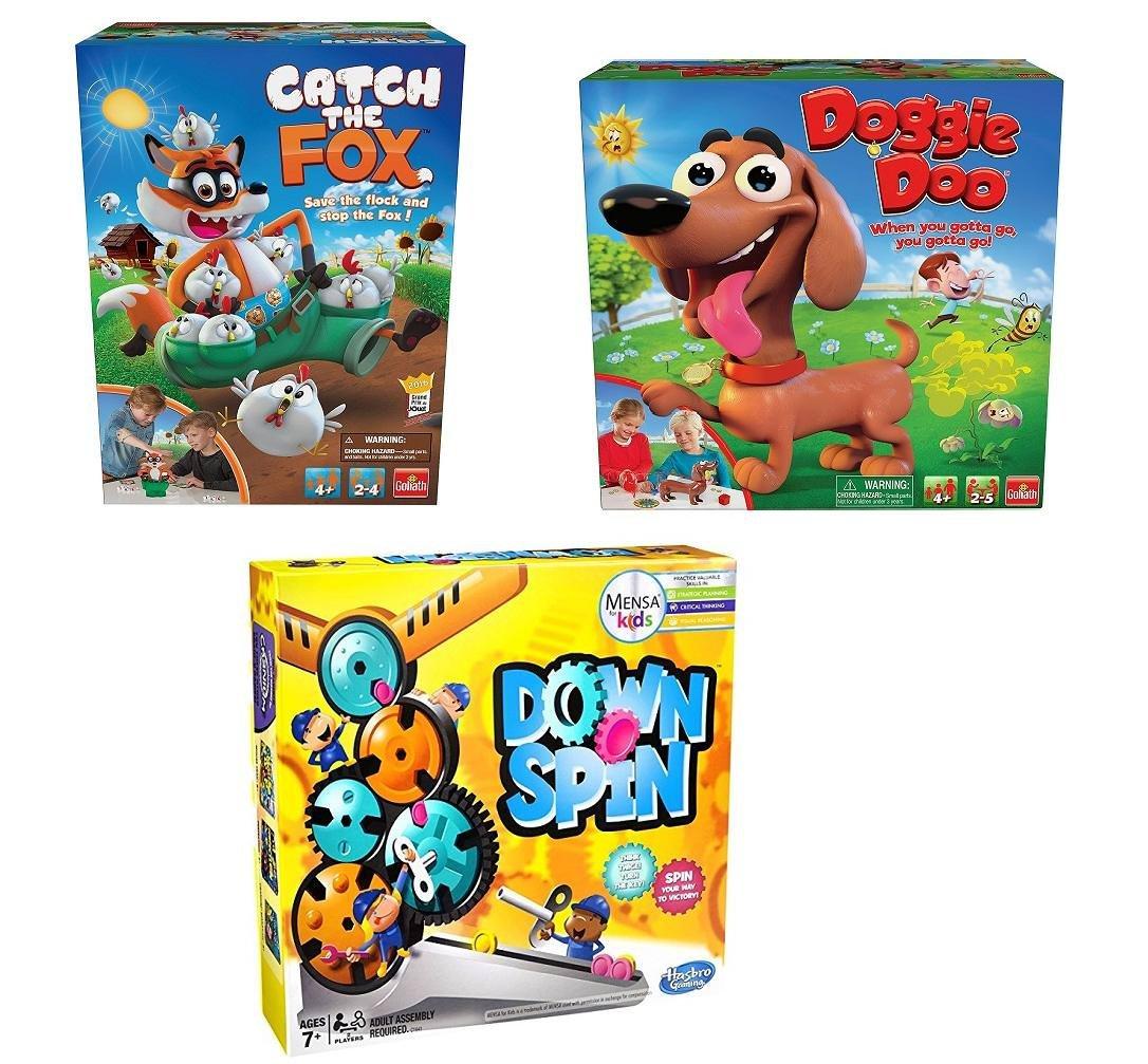 キッズボードゲーム3パック – Catch The Fox , Doggie Doo、downspin B07F8G3BM7