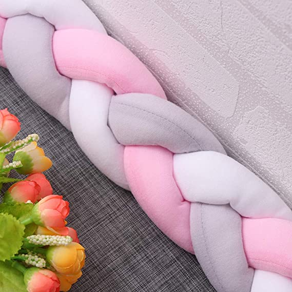 2M //6.6FT, Grey//Pink//White AOZBZ Baby Crib Bumper Knotted Braided Plush Baby Nursery Cradle Pillow for Newborns Bed Sleep Bumper