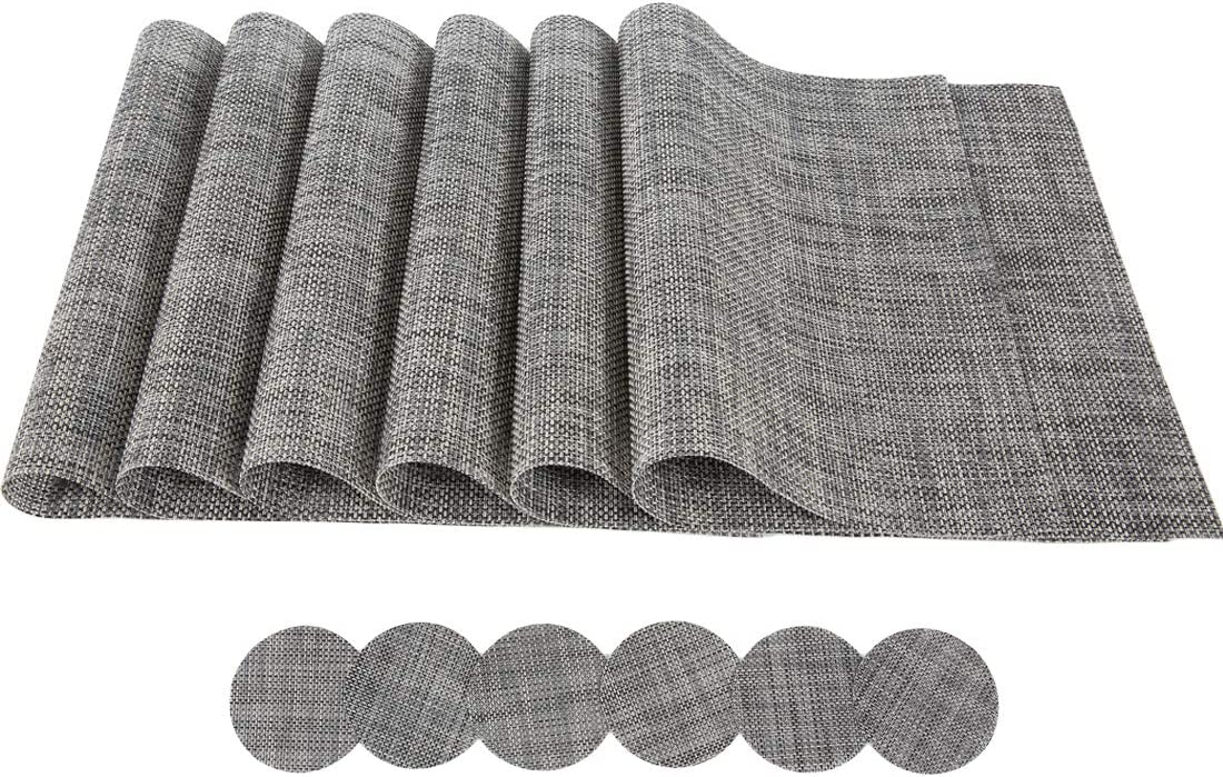 St.Yent Place Mats Silver PVC Table Mats Set of 6+6 Washable Rectangle Fabric Placemats for Table