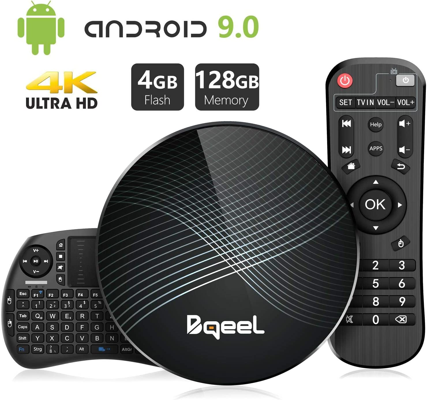 Última Versión-Bqeel Android 9.0 TV Box 【4G+128G】con Mini Teclado inalámbirco RK3328 Quad-Core 64bit Cortex-A53 Android TV Box ,Wi-Fi-Dual 2.4GHz/5GHz, Bluetooth 4.0 , 4K*2K UHD Smart TV Box