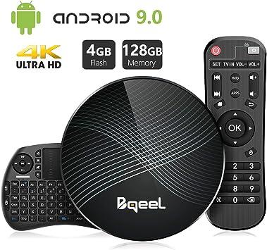 Promoción】 Bqeel Android 9.0 TV Box 【4G+128G】con Mini Teclado inalámbirco RK3328 Quad-Core 64bit Cortex-A53 Android TV Box ,Wi-Fi-Dual 2.4GHz/5GHz, Bluetooth 4.0 , 4K*2K UHD Smart TV Box: Amazon.es: Electrónica