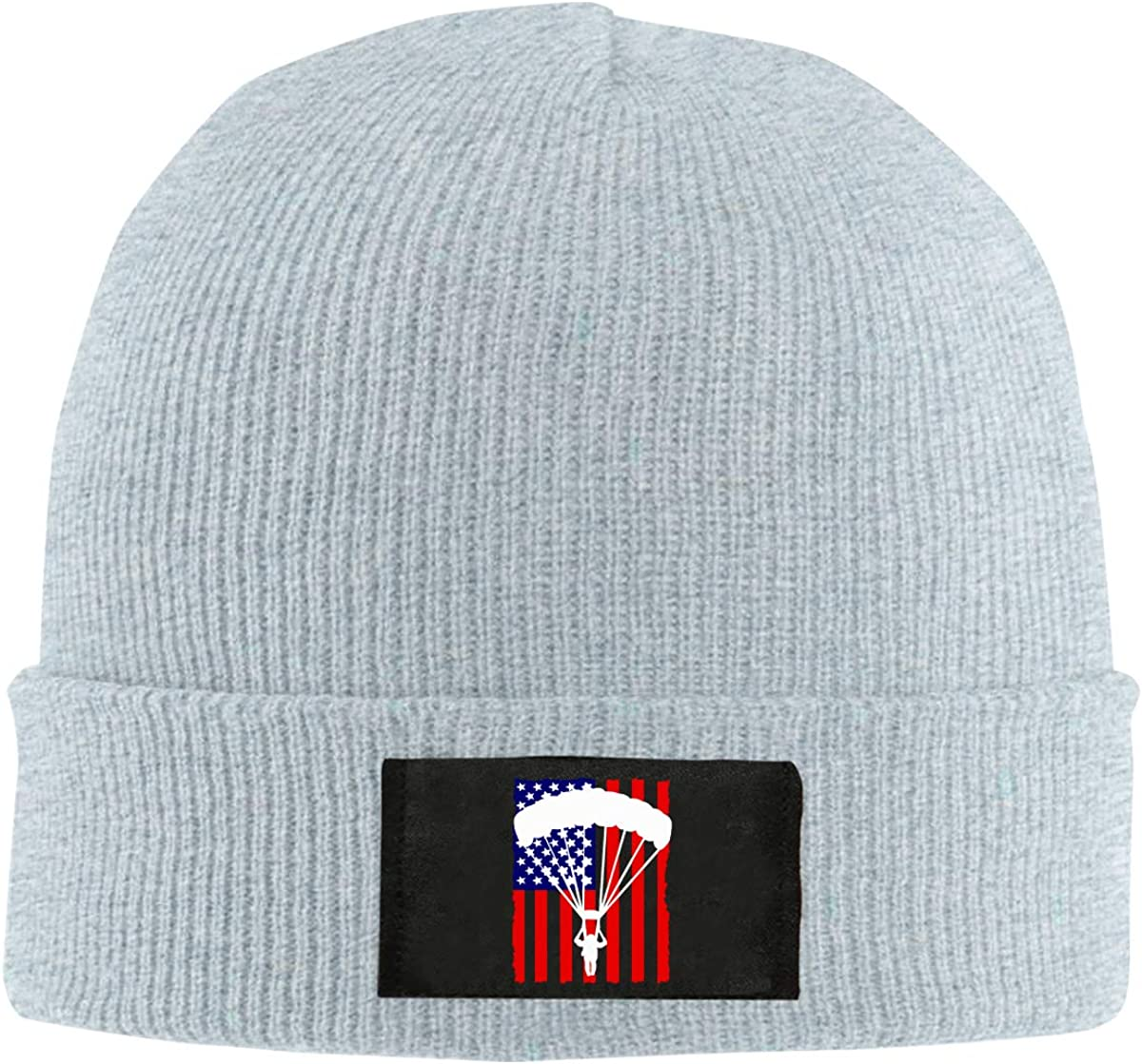 American Parachuting Skydiving USA Flag Women and Men Knitted Hat Fashion Warm Pure Color Hat