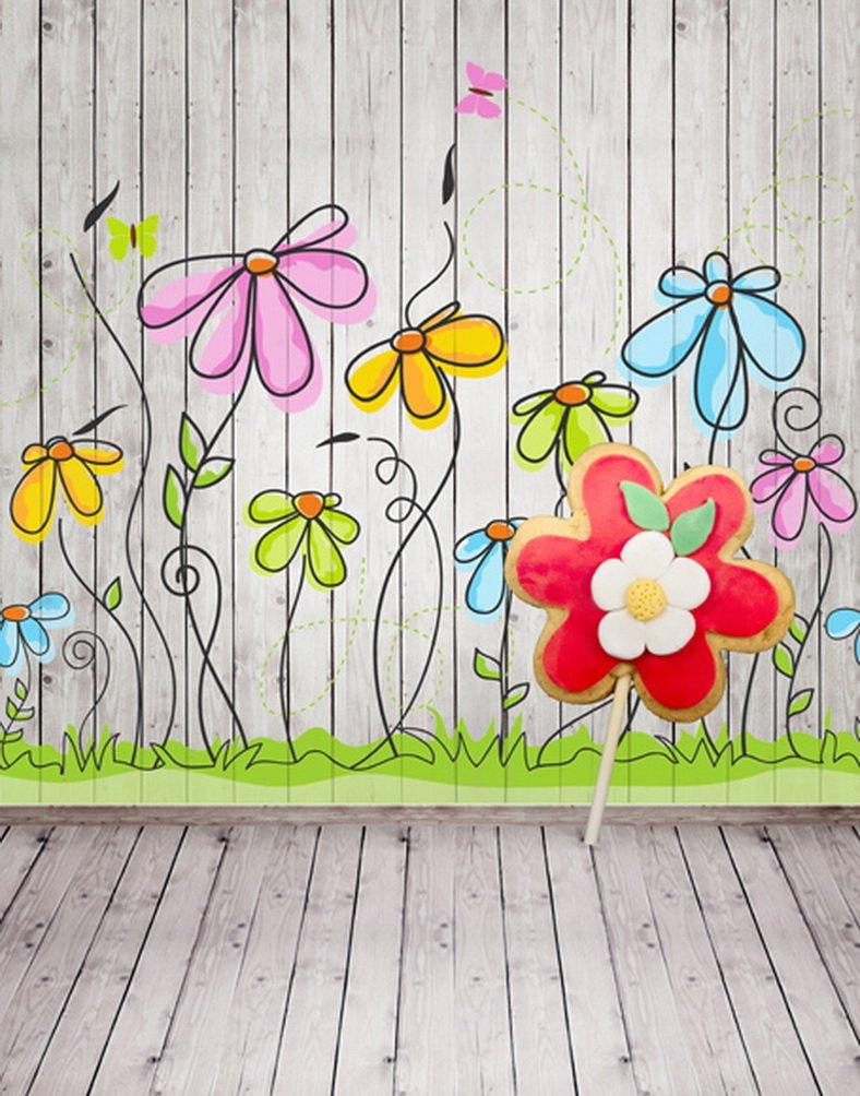木製床壁花絵画写真Backdrops写真小道具Studio背景5 x 7ft   B01I4WI0JS