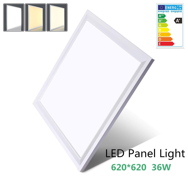 [PRO High Lumen]OUBO LED Panel 62x62cm Warmweiß   36W   3500lm  3000K   Silberrahmen Lampe dünn SLIM Ultraslim Deckenleuchte Pendelleuchte Wandleuchte Einbauleuchten