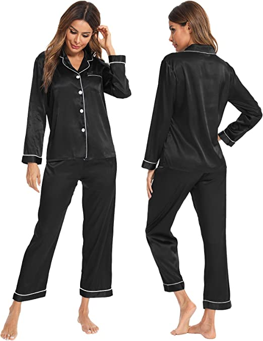Details about  /Orange//Brown Red Silk Blend Women 3pcs Lady/'s Sleepwear//Pajamas Sets M//L//XL//2XL