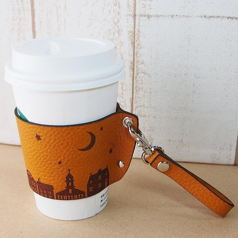 革 コーヒーカップスリーブ