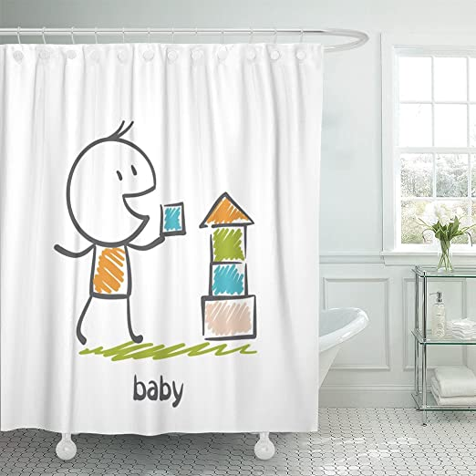 Pink and Blue Gender Pattern Shower Curtain Set Bathroom Waterproof Fabric Hooks