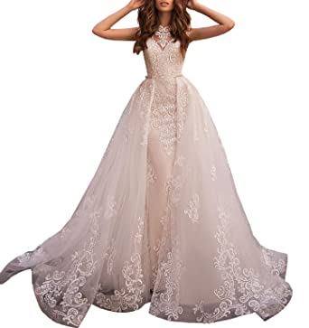 7ed110849f2 Women s A-line Lace Appliqued Removable Sweep Train Bridal Gowns Chapel Wedding  Dresses for Bride Plus Size at Amazon Women s Clothing store